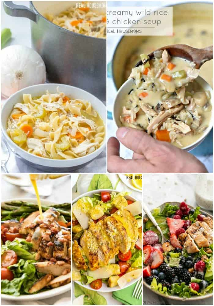 soup & salad chicken recipes collage