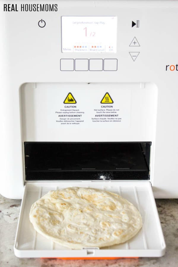 roti coming out of Rotimatic! machine