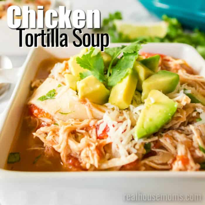 square image of chicken tortilla soup with etxt