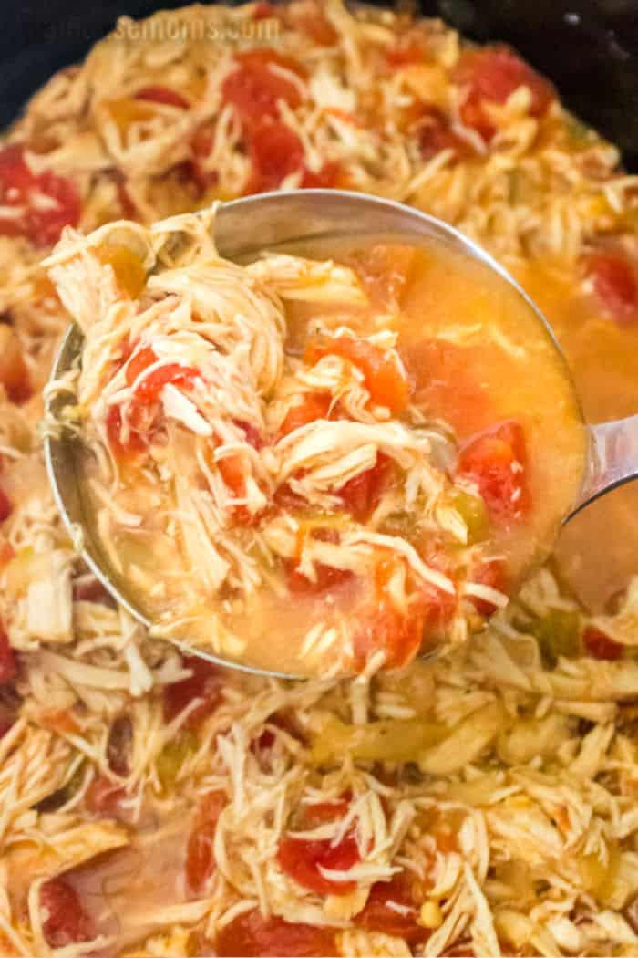ladle of chicken tortilla soup