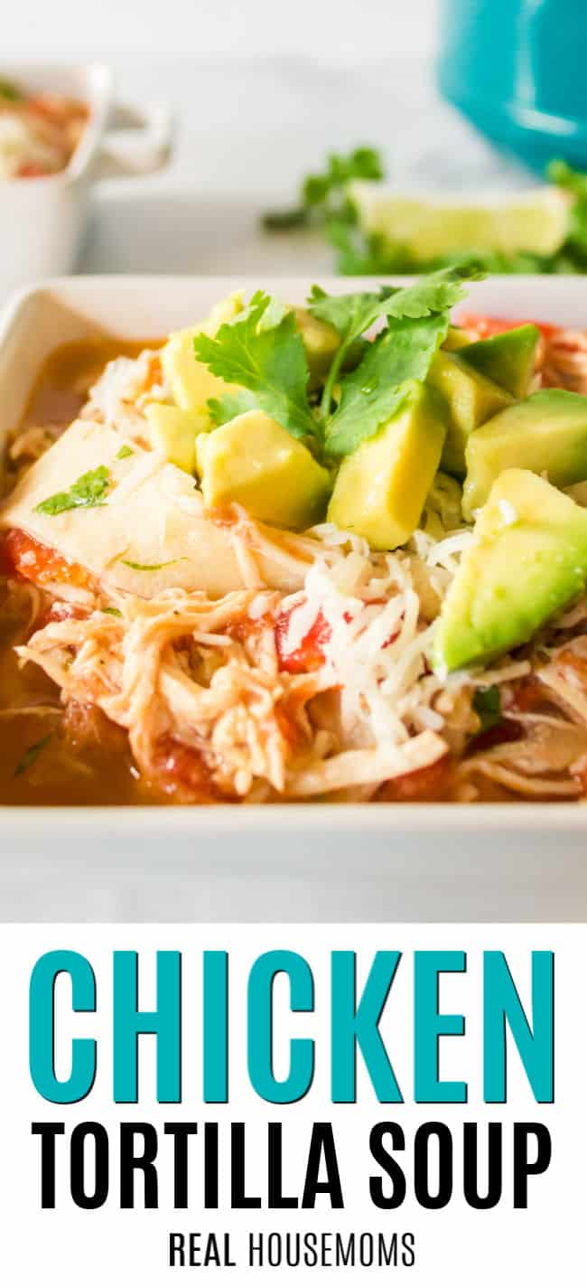 close up of a bowl of chicken tortilla soup