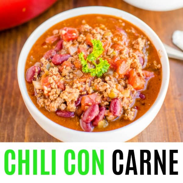 square image of chili con carne with text