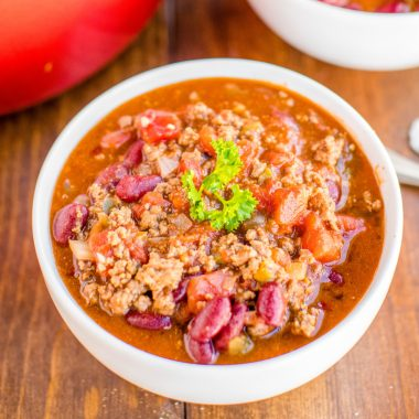 Chili con Carne is a hearty meal ready to warm you up on a cold day! I love serving this chile for game day or at dinnertime with cornbread!