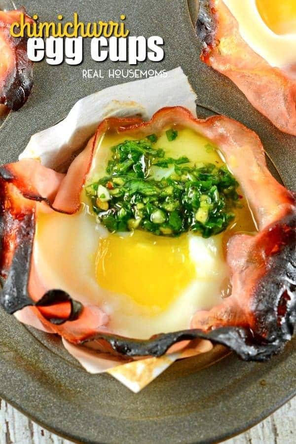 Chimichurri Egg Cups are an easy breakfast recipe perfect for feeding a crowd. They can also be frozen for breakfast on the go!