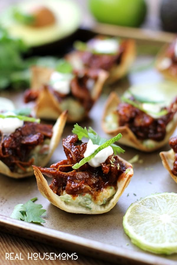 These Chipotle Chicken Tostadas are zesty, crunchy and full of bold flavor! The perfect appetizer for your next party!