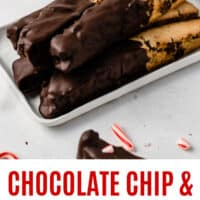 chocolate chip & peppermint biscotti on platte with recipe name at bottom