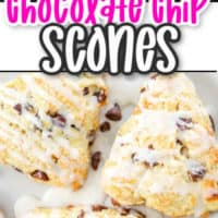 Collage of chocolate chip scones top image is of the inside of the scone bottome shows scones on a plate