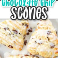 2 images of chocolate chip scones. The top image is of a scone broken in half bottom is 3 plated scones