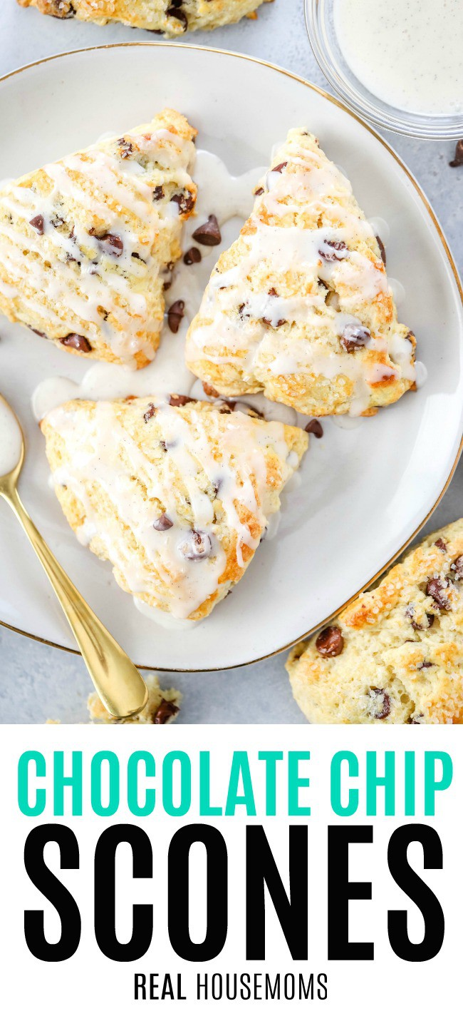 chocolate chip scones drizzled with vanilla glaze