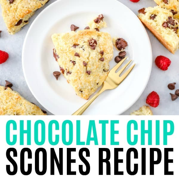 square image of chocolate chip scones with text