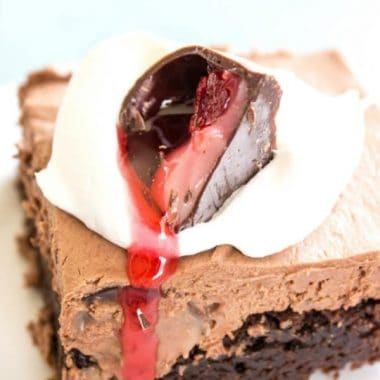 Chocolate Covered Cherry Cheesecake Brownie Bars