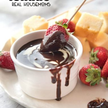 Silky warm Chocolate Fondue is a crowd-pleasing dessert you can serve in individual pots for an elegant finish your dinner party!