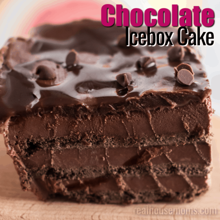 square image of triple chocolate icebox cake with text