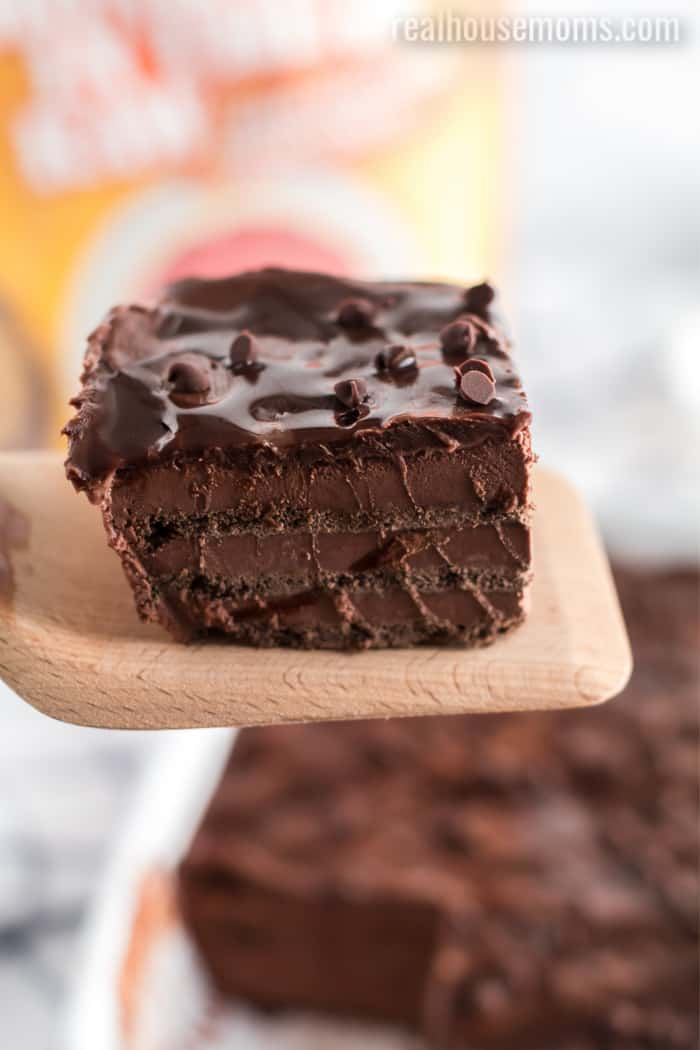 chocolate icebox cake on a spatula