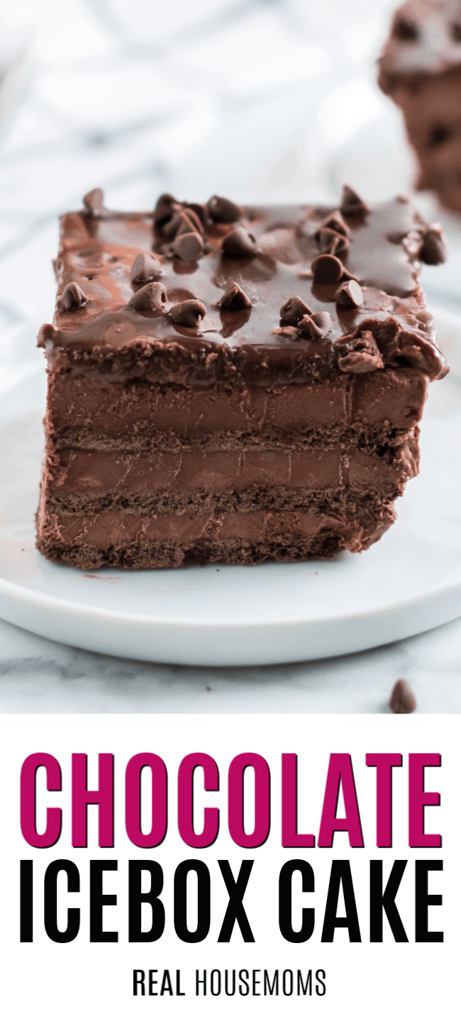 slice of chocolate icebox cake on a plate