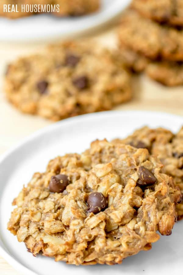 Chocolate Peanut Butter Banana Breakfast Cookies on a white plate