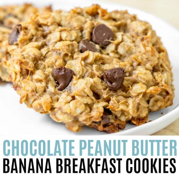 square picture of chocolate peanut butter banana breakfast cookies with title