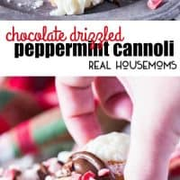 Peppermint whipped ricotta cream filling, a pie crust tube, and delicious chocolate drizzled on top make these easy Chocolate Drizzled Peppermint Cannoli the perfect holiday treat!