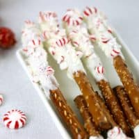 These Chocolate Peppermint Pretzels are an easy holiday treat that are perfect for parties or to give as gifts!