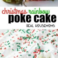Christmas Rainbow Poke Cake is a fun and colorful cake that makes the holidays even brighter!! Everyone, young and old will love this adorable cake and the kids will be excited to help make it too!