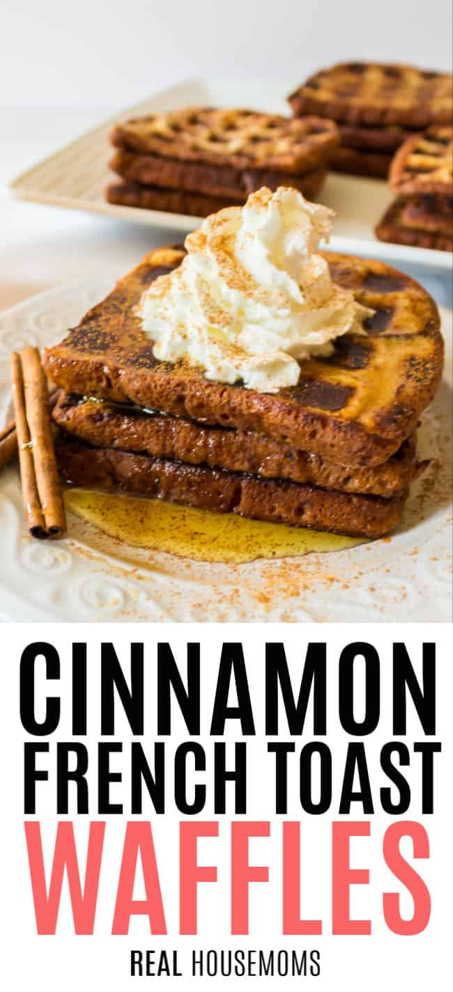 cinnamon french toast waffles with whipped cream and cinnamon