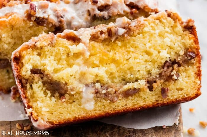 Cinnamon Pecan Coffee Cake Loaf is moist, flavorful, and easy to make. Perfect for special occasions and holiday mornings!