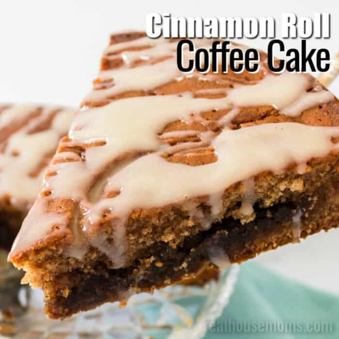 square image of cinnamon roll coffee cake with text
