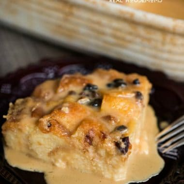 Classic Bread Pudding with Vanilla Caramel Sauce is a dessert not for the faint of heart. Made with soft challah bread, this sweet treat is a favorite!