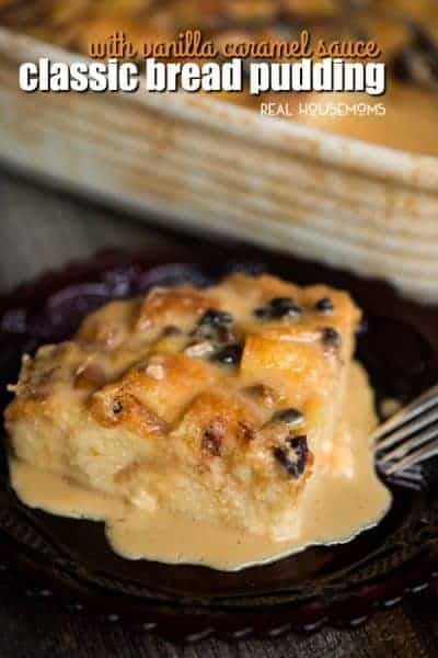 Classic Bread Pudding with Vanilla Caramel Sauce
