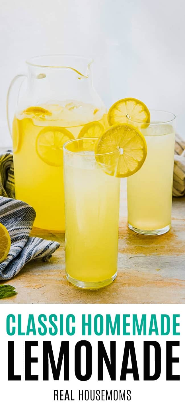 a pitcher and glasses of lemonade