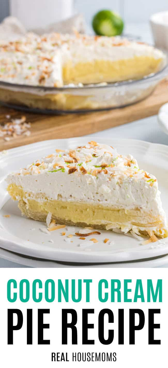 slice for coconut cream pie on a plate with the rest of the pie behind it