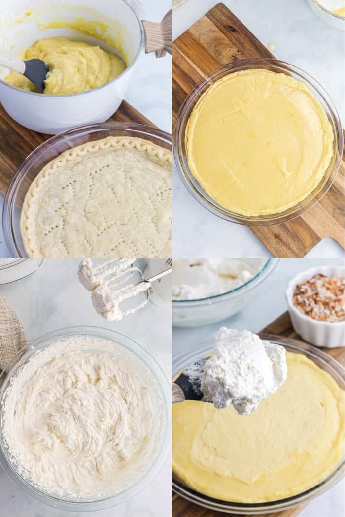 blind baked pie crust with coconut cream pie filling next to it, coconut cream pie filling in pie crust after being chilled, homemade whipped cream in a mixing bowl, rubber spatula with homemade whipped cream for topping pie