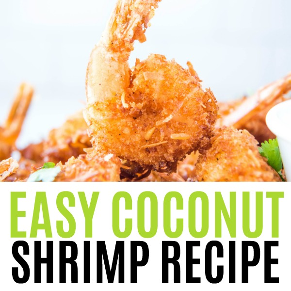 square image of coconut shrimp with text