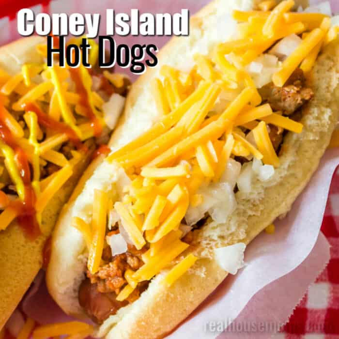 square image of coney island hot dogs with text