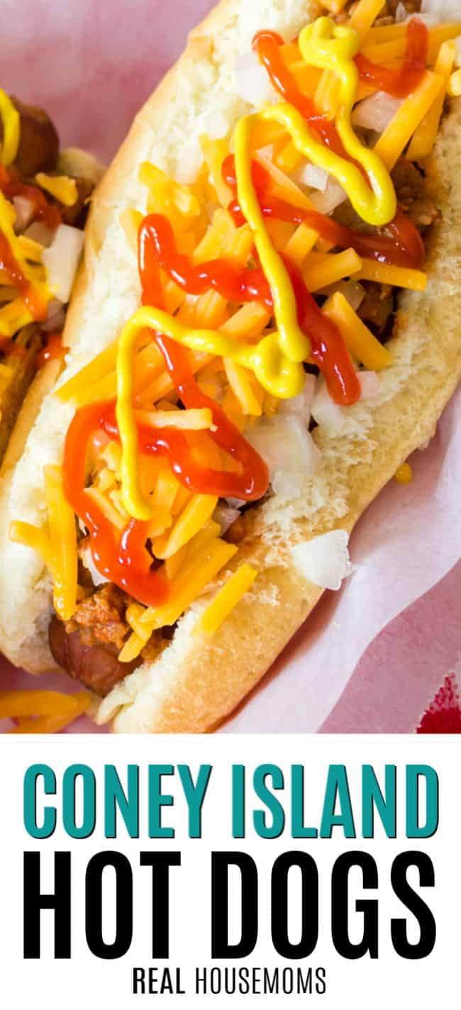 coney island hot dog topped with ketchup and mustard