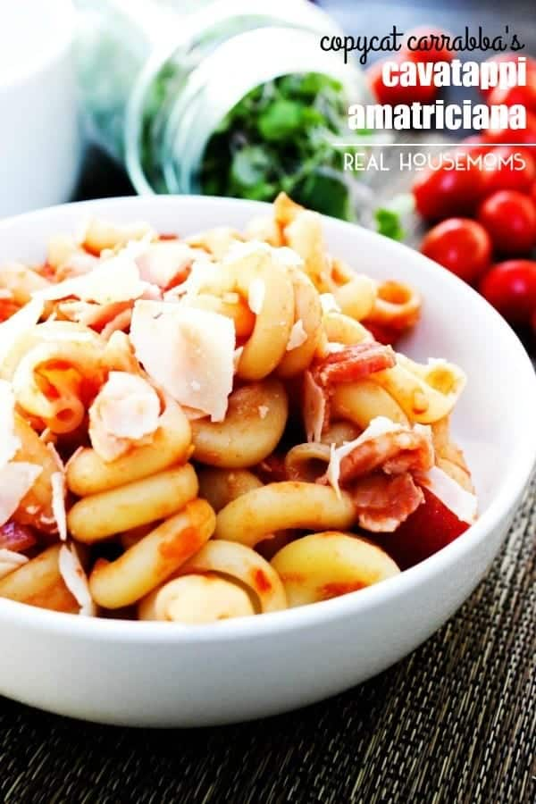 COPYCAT CARRABBA'S CAVATAPPI AMATRICIANA is easy, delicious and ready in 30 minutes! Made with a zesty tomato sauce and paired with cavatappi noodles, this pasta is a dish the entire family will love!