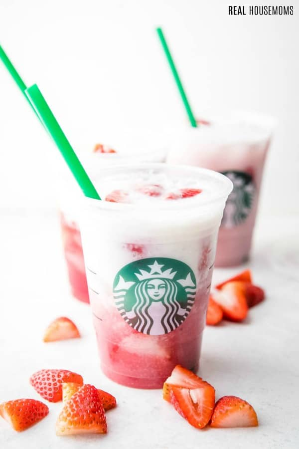 copycat starbucks pink drink in cup before being stirred