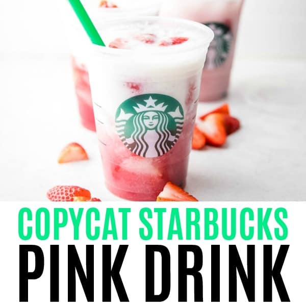 square image of copycat starbucks pink drink with text