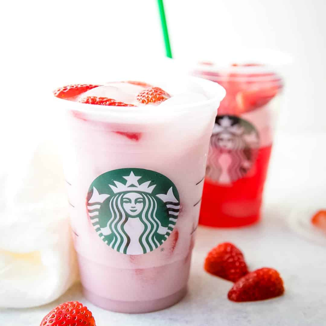 Bring your favorite coffee shop drink home! This Copycat Starbucks Pink Drink is a perfectly refreshing iced beverage you can make with 5 simple ingredients!