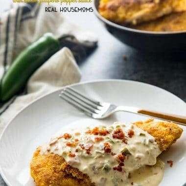 Cornbread Crusted Chicken with Bacon Jalapeno Popper Sauce is an easy to make dinner that's packed with flavor and is sure to become your new favorite meal!