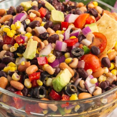 square close up of cowboy caviar in a glass bowl