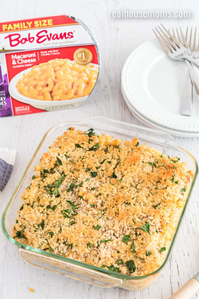 crab mac and cheese with Bob Evans mac and cheese in a casserole dish with bread crumb topping