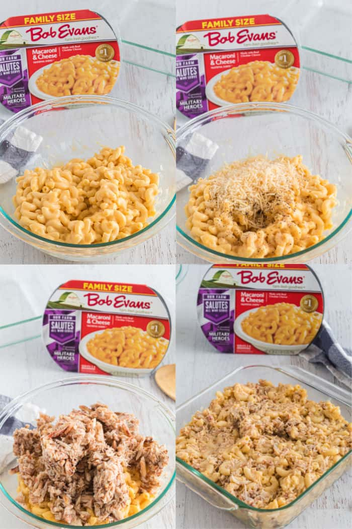 steps to make crab mac and cheese using Bob Evans Mac and Cheese