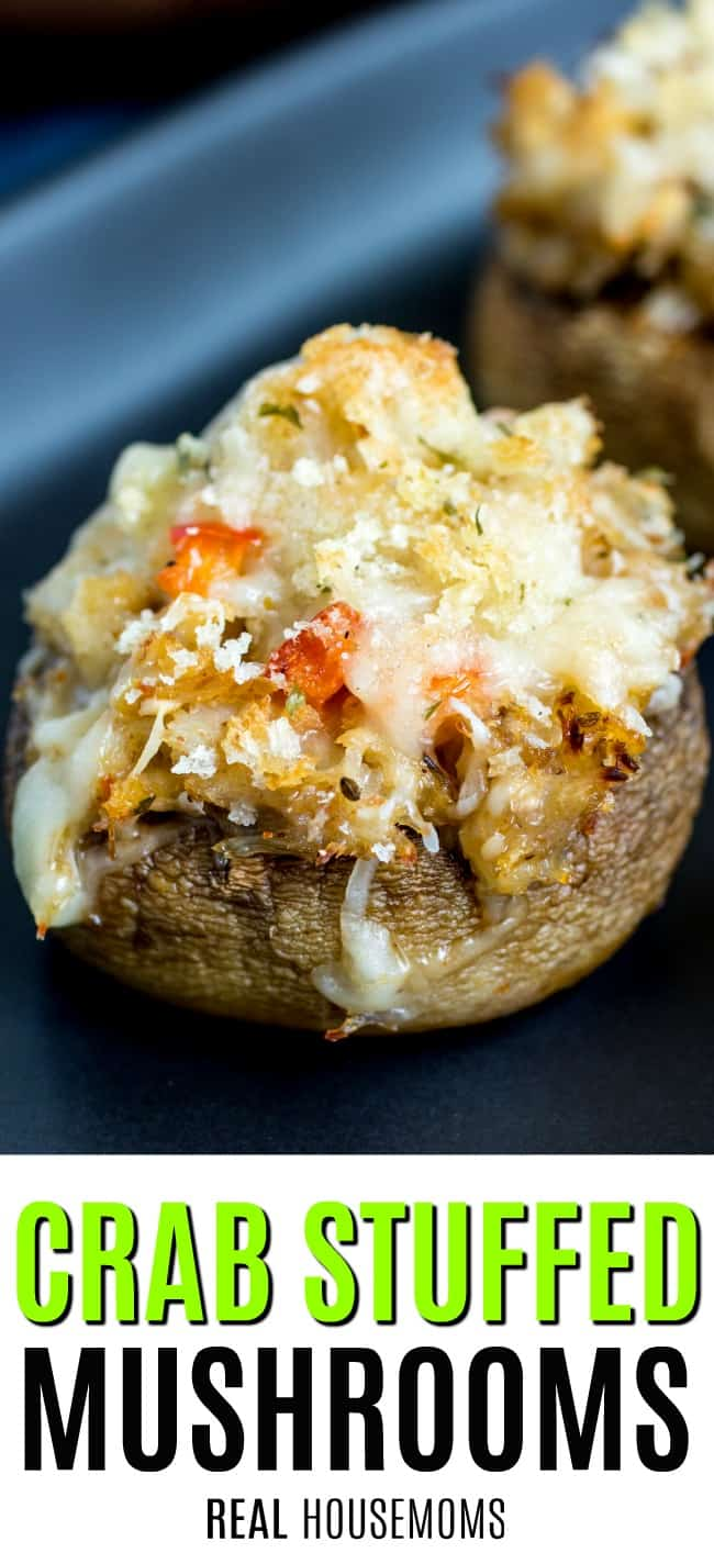 close up of crab stuffed mushroom on a plate