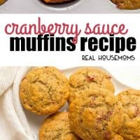 Cranberry Sauce Muffins are a beautiful and fun way to use extra cranberry sauce! Top with a smear of butter and enjoy for a delicious, festive holiday breakfast!