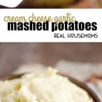 Cream Cheese Garlic Mashed Potatoes are a rich and hearty family favorite! This side dish is a delicious 3 ingredient recipe perfect for a holiday meal or a Sunday dinner!