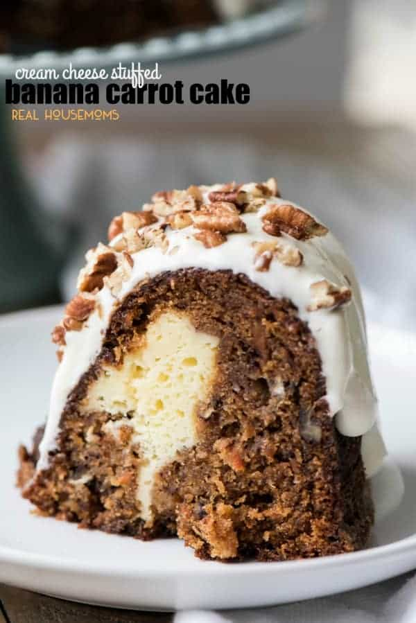 Cream Cheese Stuffed Banana Carrot Cake is a showstopper! It's a mashup of banana bread, carrot cake and cheese cake all in one amazing dessert!