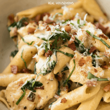 A surefire hit with everyone! Creamy Chicken Bacon Ziti is finished with a touch of fresh basil for a quick and easy dinner!