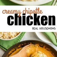 Creamy Chipotle Chicken is a simple but super flavorful 30-minute dinner with a delicious smoky chipotle cream sauce - that's secretly healthy! Serve over rice to soak up the extra sauce!