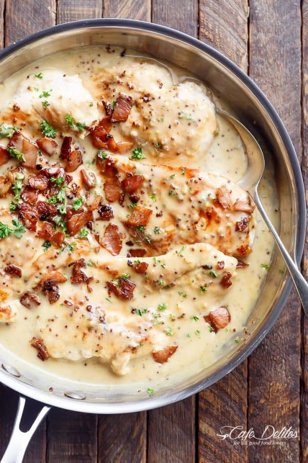 Creamy Honey Mustard Chicken With Crispy Bacon - Cafe Delites